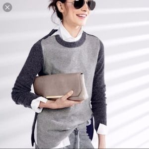J.CREW Double Zip Wool Sweater Color Block Grey